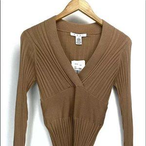 CAbi Stretch Silk Ribbed V Neck Sweater Top